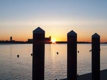 Boston harbor at dawn Royalty Free Stock Image