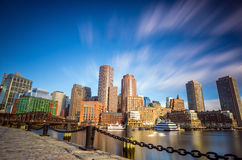 Boston Harbor and Financial District in Boston Stock Image