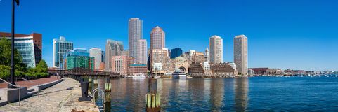 Boston Harbor and Financial District in Boston, Massachusetts. Royalty Free Stock Photos
