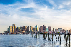Boston Harbor and Financial District in Boston Stock Photography