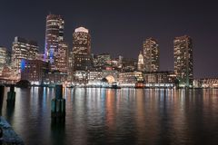Boston Harbor and Financial District at night Stock Image