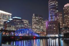 Boston Harbor and Financial District at night Royalty Free Stock Photos