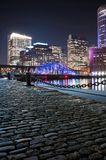 Boston Harbor and Financial District at night Stock Photography