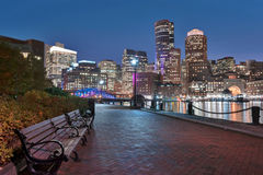 Boston Harbor and Financial District at night. In Boston, Massachusetts Stock Photography