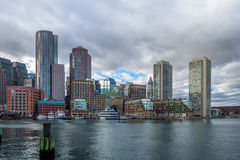 Boston Harbor and Financial District skyline - Boston, Massachusetts, USA Royalty Free Stock Photo