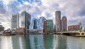 Boston Harbor and Financial District skyline - Boston, Massachusetts, USA Royalty Free Stock Images
