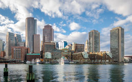 Boston Harbor and Financial District skyline - Boston, Massachusetts, USA Royalty Free Stock Image