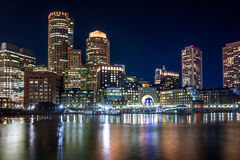 Boston Harbor and Financial District skyline at night - Boston, Massachusetts, USA Royalty Free Stock Image