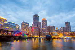 Boston Harbor and Financial District at twilight in Boston Royalty Free Stock Image