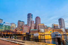 Boston Harbor and Financial District Royalty Free Stock Photography