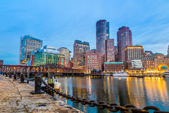 Boston Harbor and Financial District Royalty Free Stock Images