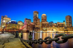 Boston Harbor and Financial District Stock Image