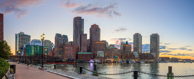 Boston Harbor and Financial District. At twilight, Massachusetts Royalty Free Stock Photos