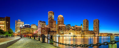 Boston Harbor and Financial District. At twilight, Massachusetts Royalty Free Stock Image