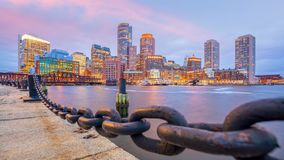 Boston Harbor and Financial District at twilight Royalty Free Stock Images