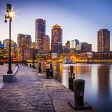 Boston Harbor and Financial District. View of the Boston Harbor and Financial District in Boston, Massachusetts, USA at sunset Stock Image