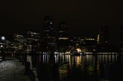Boston harbor holiday reflections Royalty Free Stock Image