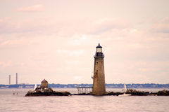 Boston Harbor lighthouse is the oldest lighthouse in New England Royalty Free Stock Image