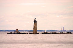 Boston Harbor lighthouse is the oldest lighthouse in New England. Royalty Free Stock Photo