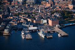 Boston harbor in the morning. Aerial morning view of harbor of Boston, MA Royalty Free Stock Images
