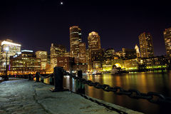 Boston harbor at night Royalty Free Stock Image