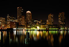 Boston Harbor at Night. Boston harbor and Rowes Wharf at night Royalty Free Stock Images