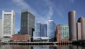 Boston harbor skyline. The boston harbor skyline in panorama Stock Photo