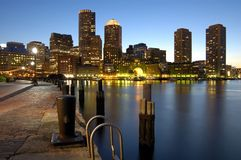 Boston harbor skyline. At night royalty free stock photo
