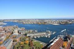 Boston Harbor Skyline. The Skyline of the Boston Harbor Stock Photos