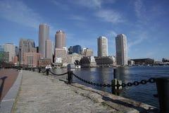 Boston harbor skyline panorama. The boston harbor skyline in panorama Royalty Free Stock Photography