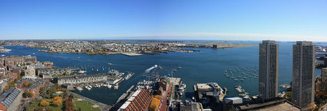 Boston Harbor Skyline Panorama. The Skyline of the Boston Harbor Royalty Free Stock Images