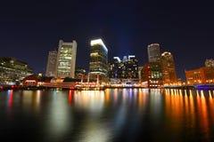 Boston Harbor skyline. Shot at Night royalty free stock image