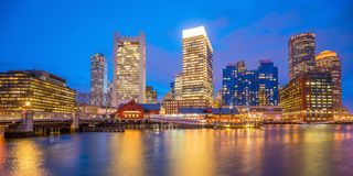 Boston Harbor skyline at twilight, Massachusetts. In United States royalty free stock photography