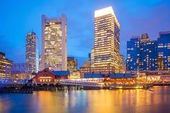 Boston Harbor skyline at twilight, Massachusetts. In United States stock photography