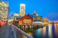 Boston Harbor skyline at twilight, Massachusetts. In United States stock photo