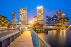 Boston Harbor skyline at twilight, Massachusetts. In United States royalty free stock images