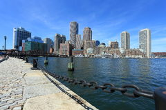 Boston harbor and skyline. View of boston harbor on a nice very beautiful day Royalty Free Stock Photography