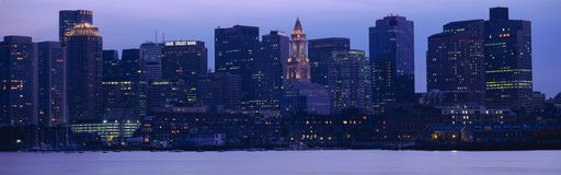 This is Boston Harbor and the skyline. It is the view from south Boston at dusk. Stock Image