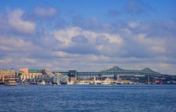 Boston Harbor and Tobin Bridge Royalty Free Stock Images