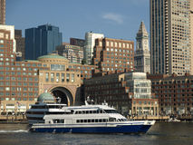 Boston Harbor and Tour Boat Stock Images