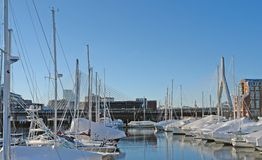 Boston harbour in sunny ambiance. Some boats anchoring in Boston (Massachusetts, USA) at winter time Royalty Free Stock Image