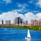 Boston Harvard Bridge in Charles river Royalty Free Stock Photos