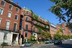 Boston Historic Buildings, Massachusetts, USA. Boston historic buildings on Beacon Street between Charles Street and Walnut Street, Boston, Massachusetts, USA Stock Images