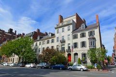Boston Historic Buildings, Massachusetts, USA. Boston historic buildings on Beacon Street at River Street, Boston, Massachusetts, USA Stock Photo