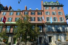 Boston Historic Buildings, Massachusetts, USA. Boston historic buildings on Beacon Street next to the State House, Boston, Massachusetts, USA Stock Photos