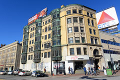 Boston Historic Buildings, Massachusetts, USA. Historic Buildings on Commonwealth Avenue at Deerfield Street in Fenway District of Boston, Massachusetts, USA Stock Photos