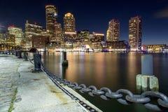 Boston horisont av Boston på solnedgången Fotografering för Bildbyråer