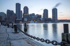 Boston horisont av Boston på solnedgången Royaltyfri Bild