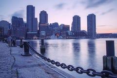 Boston horisont av Boston på solnedgången Royaltyfria Bilder