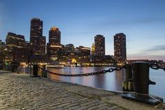 Boston horisont av Boston på solnedgången Royaltyfria Foton